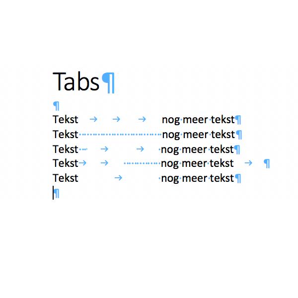 Opgemaakte tekst, tabs zichtbaar