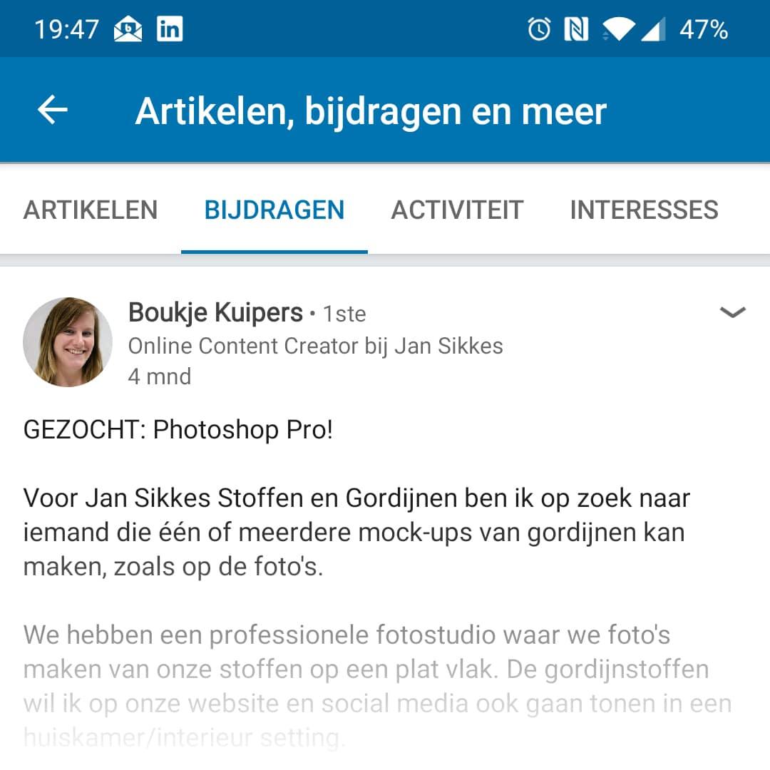 Screenshot linkedin bericht stukje | Hoe Jan Sikkes zijn gordijnen nu supersnel presenteert