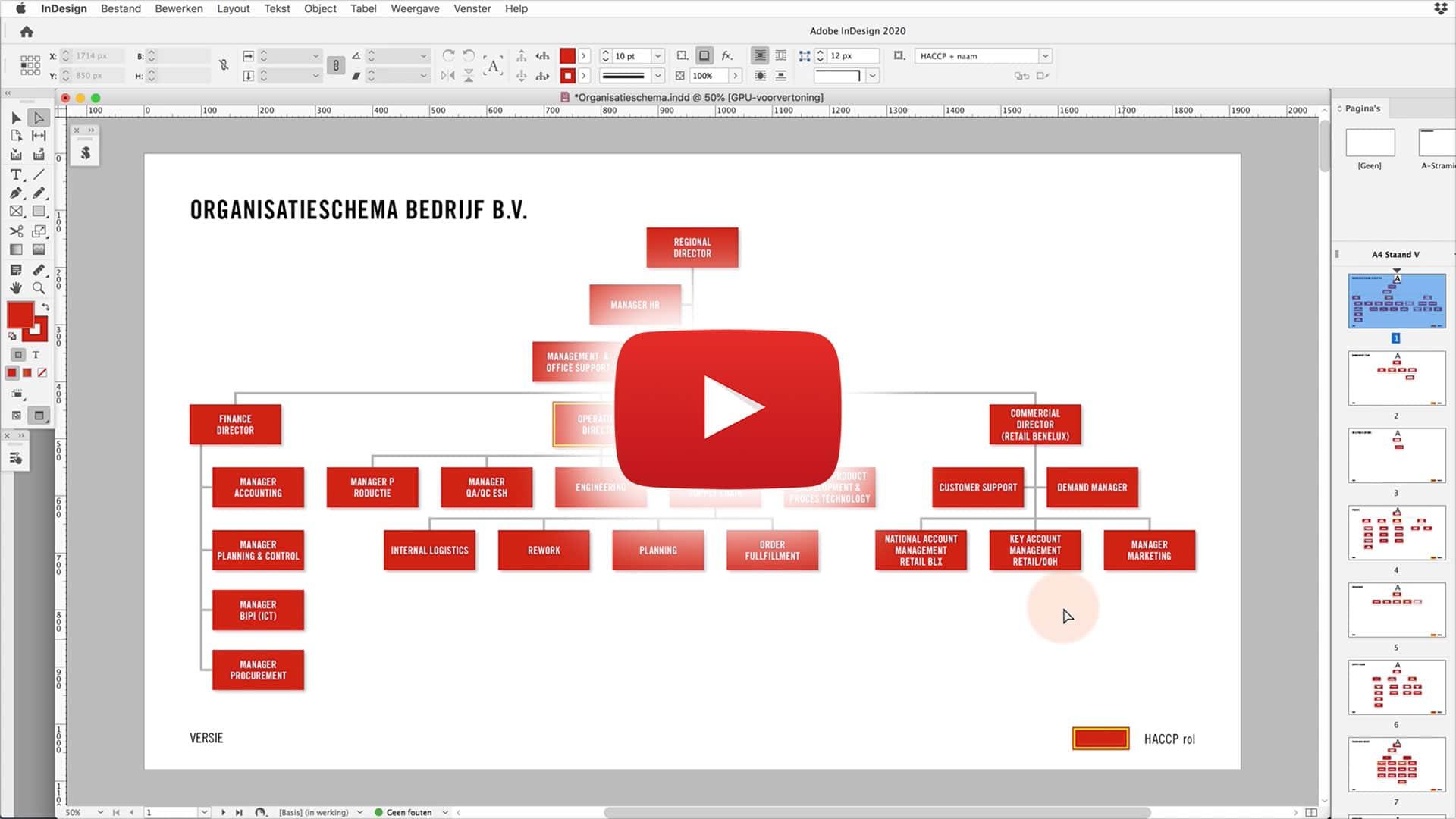 organisatieschema video still mobiel   PDF gevuld met gegevens uit een database